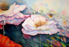 """Watercolour done on Saunders Waterford 140LB Rough with W&N & M Graham watercolours. 22"""" X 15"""". I thought it was time for another poppy painting but this time not the standard reds ,the more fanciful shirley series with the addition of a honey bee !"""