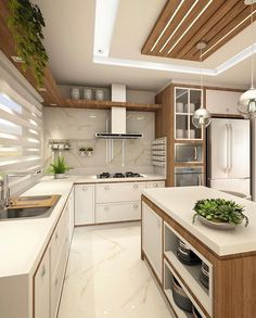 Cozinha lindíssima by Ana Marangoni (… Hello domingo! ✌☘ Cozinha lindíssima by Ana Marangoni ( Source [New] The 10 Best Home Decor (with Pictures) - Hello domingo! Cozinha lindíssima by Ana Marangoni ( What I call the kitchen is completely and c Kitchen Ceiling Design, Luxury Kitchen Design, Contemporary Kitchen Design, Kitchen Pantry Design, Home Decor Kitchen, Interior Design Kitchen, Diy Kitchen, Kitchen Ideas, Kitchen Layout Plans
