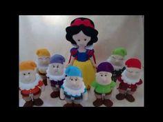 Branca de Neve e os 7 anões - Bonecos de feltro para decoração.