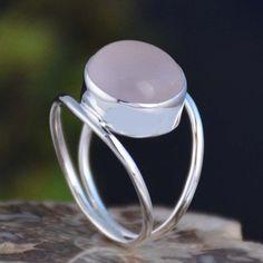 925 SOLID STERLING SILVER ROSE QUARTZ FANCY RING 4.17g DJR11119 SZ-8 #Handmade #Ring