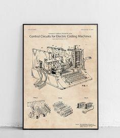 Plakat z reprodukcją patentu przedstawiającego układ sterujący maszyny szyfrującej SIGABA autorstwa Laurance'a F. Safford i Donald'a W. Seiler .  Patent nr US6175625 B1 został opublikowany w 2001 roku przez Urząd Patentów i Znaków Towarowych Stanów Zjednoczonych. Vintage World Maps, Lights, Interiors, Decoration Home, Lighting, Decor, Rope Lighting, Candles, Lanterns