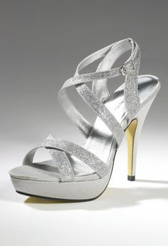 "High Heel Glitter pllatform strap sandal features:• 4"" High heel• Glitter straps• Adjustable ankle wrap • 1\2"" Platform"