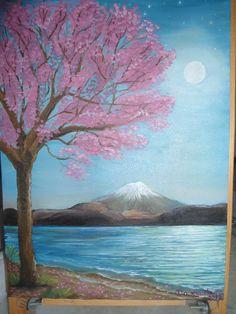 """Paisagem japonesa: """"Cerejeira à luz da Lua"""" Ano: 2013"""