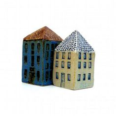 A white and blue ceramic house made in stoneware clay and fired to c in a gas fired kiln. This house measures about 4 inches tall and thebase is 2 Clay Houses, Ceramic Houses, Little Houses, Mini Houses, Contemporary Ceramics, House Made, Fairy Houses, Stoneware Clay, Home Crafts
