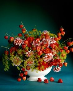 """""""Fall Arrangement""""   A large Staffordshire tureen, fitted with a giant floral frog, is the perfect vessel for a stunning arrangement of three unusual fall blooms: striped dahlias in orange and white, papery Chinese lanterns stripped of all leaves, and dill gone to yellow flower heads."""
