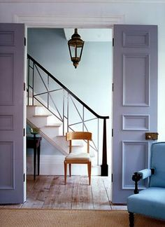 lilac, blue, painted doors, color combo