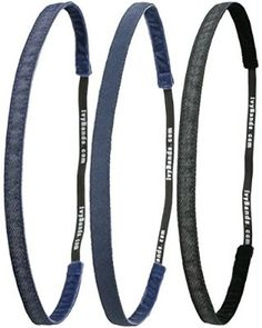 Ivybands Jeans Up Your Life 3-er Pack Anti-Rutsch Haarband Blue Jeans Superthin, Blue Jeans Fein, Black Denim Jeans Superthin IVY681 IVY682 IVY690