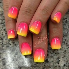 Image via Colorful Nail Art Designs Image via Amazing Rainbow Nail Art Designs Image via Alternative to traditional wedding nails. Sunflower theme Image via Cute and Easy Fancy Nails, Love Nails, Pretty Nails, My Nails, Pink Nails, Neon Nails, Yellow Nails, Uñas Color Neon, Nail Art Designs