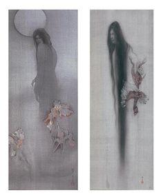 Fuyuko Matsui Traditional Japanese Art, Traditional Paintings, Japanese Drawings, Japanese Artists, Japanese Horror, Japanese Folklore, Japanese Painting, Japan Art, Surreal Art