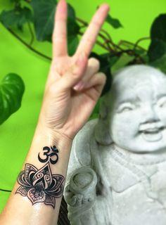 Peace and Love! Lotus mandala wrist tattoo!