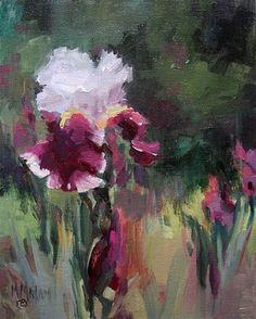 Iris Garden - Auction oil on panel Mary Maxam