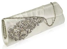 evening bags: Exquisite White Ivory Floral Crystal Prom Wedding Evening Clutch Bag x with PreciousBags Dust Bag Wedding Bag, Wedding Clutch, Wedding Gowns, Wedding Ideas, Bridal Handbags, Silver Clutch, Bridal Clutch, Large Crystals