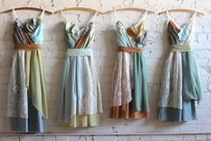 custom bridesmaids dresses in moss, sage, and mint greens with gold and turquoise by Armour sans Anguish #bohowedding #greenwedding #ecowedding