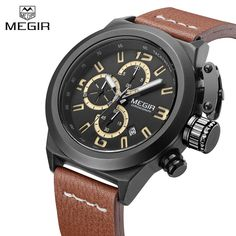 Megir Sport Mens Watches Top Brand Luxury Male Leather Waterproof Chronograph Quartz Military Wrist Watch Men Clock saat 2017 #Affiliate
