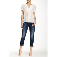 7 For All Mankind Josefina Skinny Boyfriend Jean ($80) ❤ liked on Polyvore featuring jeans, slim boyfriend jeans, skinny jeans, white distressed jeans, ripped boyfriend jeans and destroyed boyfriend jeans