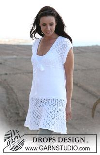 "DROPS tunic in lace pattern in ""Muskat"". Size S – XXXL ~ DROPS Design"