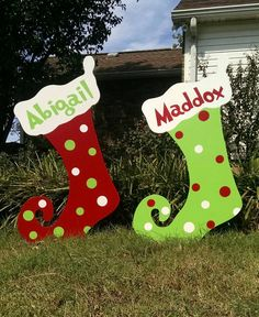 This yard art piece(s) is detail painted only on one side. The back is painted a solid neutral color. Our yard art pieces are hand drawn, hand cut, hand sanded and hand painted. These would not affect the presentation or quality of your yard art piece. Christmas Stocking Decorations, Grinch Christmas Decorations, Custom Christmas Stockings, Christmas Yard Art, Christmas Wood, Yard Decorations, Christmas Trees, Natural Christmas, Christmas Christmas