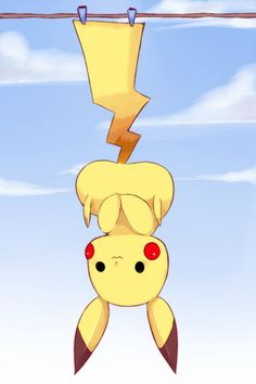 Pikachu, cute, hanging, upside down, clothespins; Mega Pokemon, Pokemon Funny, Pokemon Fan Art, Pokemon Fusion, Pikachu Pikachu, Anime Chibi, Pokemon Pictures, Catch Em All, Manga