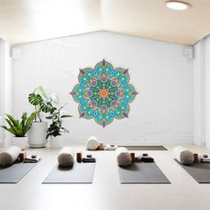 Beautiful Turquoise Mandala, Yoga Studio Design, V Yoga Studio Decor, Yoga Studio Design, Yoga Room Design, Yoga Studio Home, Pilates Studio, Yoga Studio Interior, Home Yoga Studios, Yoga Room Decor, Wall Design