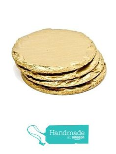 Renee Redesigns Round Hand Painted Gold Slate Drink Coasters with Leather Ribbon and Gold Eyelet Detailing, Gift Set of 4 | Protects Table Surfaces | For Hot & Cold Beverages and Candles from Renee Redesigns http://smile.amazon.com/dp/B015M27724/ref=hnd_sw_r_pi_dp_.e1nxb19EKRS9 #handmadeatamazon