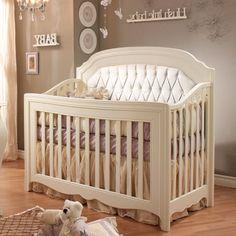Allegra Convertible Crib with Diamond Upholstered Panel White