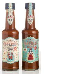 Steve Simpson's illustrated chilli sauce bottles