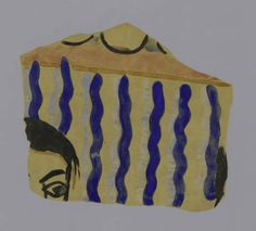 Excavation of Samarra (Iraq): fragment from a wall painting with edge of woman's head, blue stripes and pearl border, found in House XVI. Metropolitan Museum of Art (New York, N.Y.). Department of Islamic Art. Ernst Herzfeld Papers. #iraq #painting #stripes