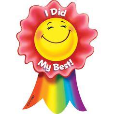 Creative Teaching Press I Did My Best Smiling Ribbon Rewards Teacher Stickers, Reward Stickers, Kids Stickers, School Magazine Ideas, Student Rewards, Student Data, Kids Awards, Happy Sunday Quotes, First Day Of School Activities