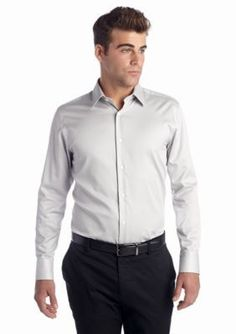 Vince Camuto Gray Solid Sateen Spread Dress Shirt