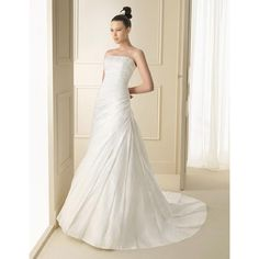 2015 A-line Floor length Ruffled Style Strapless Wedding Gown Auckland In New Zealand (TWD2015-005) Wedding Dresses Auckland