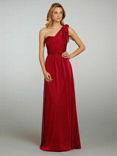 Sheath/Column One Shoulder Chiffon Floor-length Red Ruffles Bridesmaid Dresses at Millybridal.com