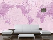 Rose World Map Wall Mural in Room