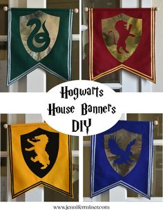 Harry Potter DIY tutorial on creating simple Hogwarts House Banners for your next Harry Potter Party! - DIY tutorial on creating simple Hogwarts House Banners for your next Harry Potter Party! Baby Harry Potter, Harry Potter Casas, Natal Do Harry Potter, Harry Potter Motto Party, Harry Potter Banner, Harry Potter Fiesta, Harry Potter Thema, Cumpleaños Harry Potter, Harry Potter Halloween Party