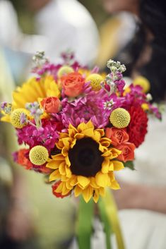 Wedding flowers by – Leafy Couture. Bridal bouquet with sunflowers. Pink, red or… – Outdoor Wedding Decorations 2019 Yellow Wedding Flowers, Modern Wedding Flowers, Flower Bouquet Wedding, Yellow Flowers, Mary Flowers, Prom Bouquet, September Wedding Colors, Fall Wedding Colors, Autumn Wedding