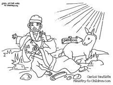 """""""Saul on the Road to Damascus"""" Coloring Page. From Carlos Bautista, a children's ministry leader in the Philippines."""