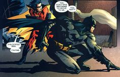 """You don't have anything to prove to me."" Batman and Robin (Tim Drake). I legit have this on my wall"