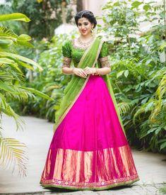 Lehenga Saree Design, Half Saree Lehenga, Saree Look, Saree Dress, Sari, Bridal Lehenga, Ghagra Saree, Cotton Lehenga, Lehenga Designs Latest