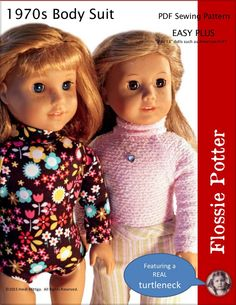 Flossie Potter 1970s Body Suit Doll Clothes Pattern 18 inch American Girl Dolls | Pixie Faire