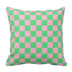 Checkered Green and Pink Throw Pillow
