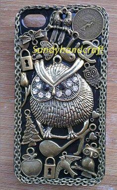 owl iphone 4 case antique bronze unique owl by Sandyhandcraft, $26.98