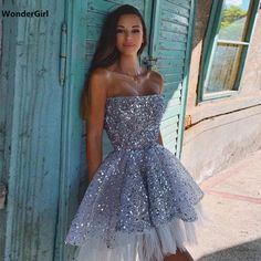 Backless Homecoming Dresses, Pretty Prom Dresses, Hoco Dresses, Tulle Prom Dress, Sequin Mini Dress, Event Dresses, Cute Dresses, Beautiful Dresses, Strapless Dress Formal