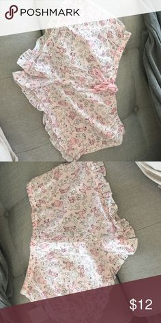 Poodle light pink pj shorts Cute light pink pj shorts! Pink and white poodles all over. Ruffles on bottom. Lace tie in front. Gift from friend- brand new never worn with tags! From Nordstrom rack Intimates & Sleepwear Pajamas
