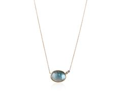 Blue Topaz Oval Diamond Necklace set in 14 & 18k gold - Discover more at http://www.annaruthhenriques.com !