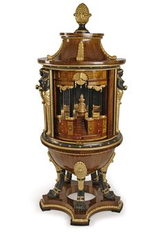 Museum Biedermeier cabinet secretary with rotating Tabernakeleinrichtung, with over 50 subjects, many created as secret compartments.  Autographed Georg Fischer, Vienna, 1816 / 17th walnut interior mainly in solid cherry wood, the carved parts matte black patinated and gilt. Silver hardware and Tauschierungen.