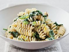 Fusilli with Creamed Leek and Spinach | This delicious pasta was the fastest and simplest to prepare of all the winners.  More Quick Pastas ...