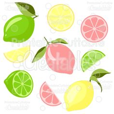 Lemons & Limes SVG Cut Files & Clipart - Scrapbook cut files for your Silhouette or Cricut cutting machines! Vinyl Crafts, Paper Crafts, Lemon Print, Cutting Tables, Silhouette Cameo Projects, Lemon Lime, Svg Cuts, Party Printables, Svg File