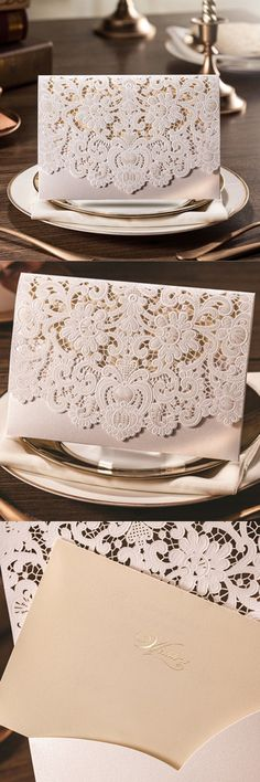 Chic White Laser Cut Wedding Invite with Pocket Envelop