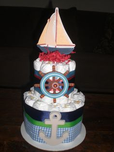 Nautical Diaper Cake Sailboats Baby by bearbottomdiapercakes, $25.00