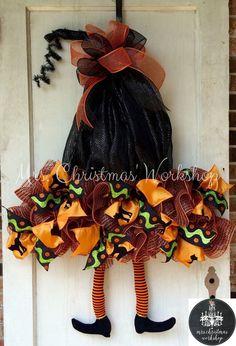 Orange and black deco mesh witch hat by MrsChristmasWorkshop