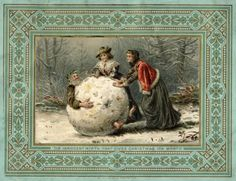 Why is Father Christmas in a giant snowball on this 1879 card? There's no telling, but it doesn't look like it's going to end well.